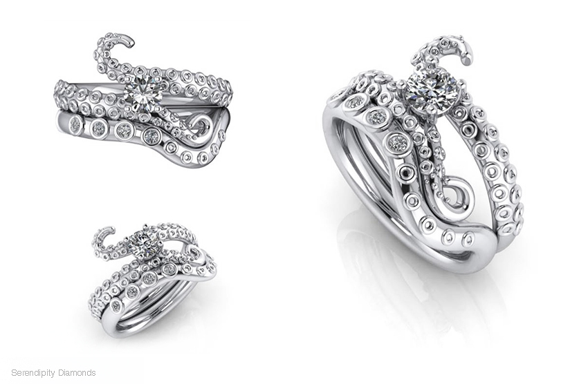CAD engagement ring design of the Kraken ring style.