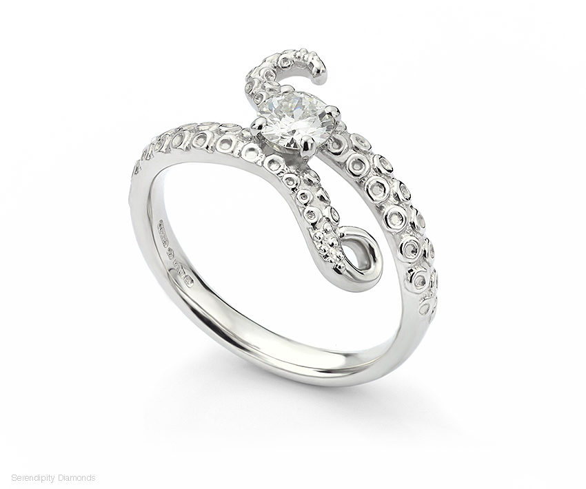 The Octopus engagement ring set with a central diamond