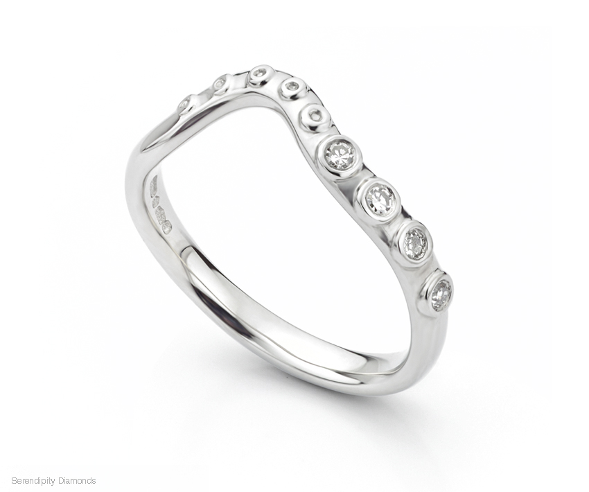 Octopus shaped diamond wedding ring