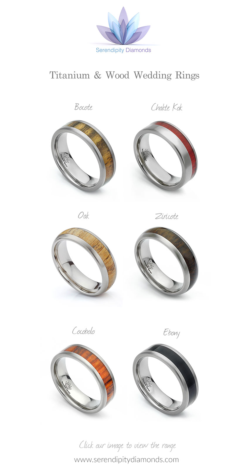 Titanium wood wedding rings collection in Titanium