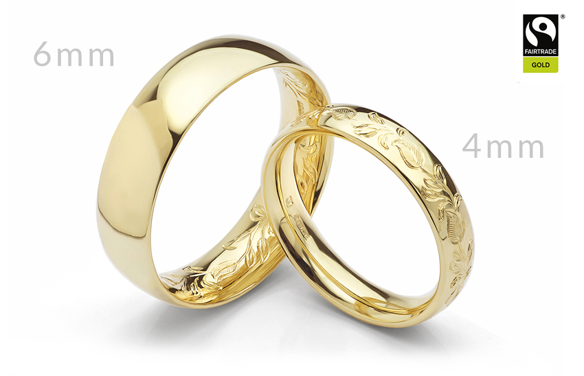 4mm and 6mm wide Fairtrade Gold wedding rings