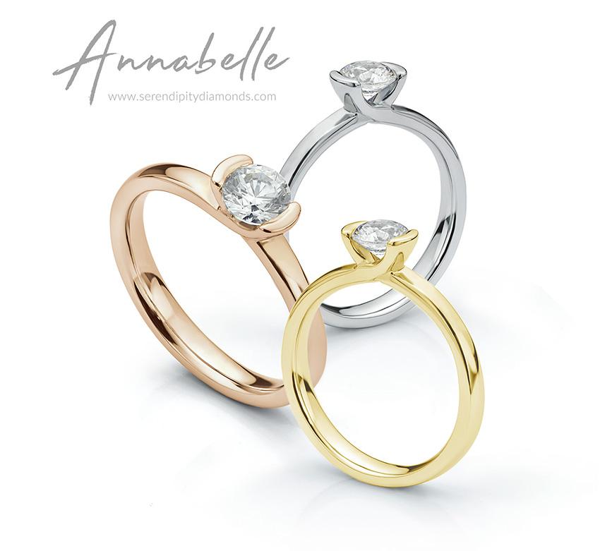 Annabelle part bezel solitaire diamond ring