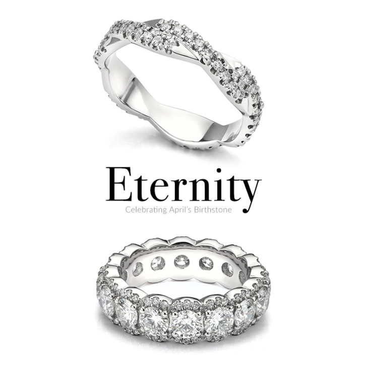 April birthstone eternity rings - celebrating with diamonds