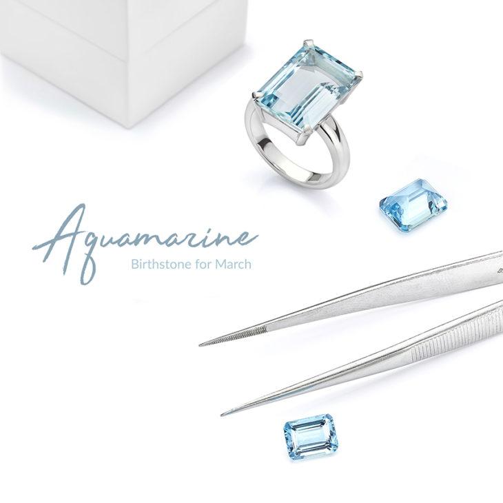 Aquamarine March birthstone ring and loose Aquamarines