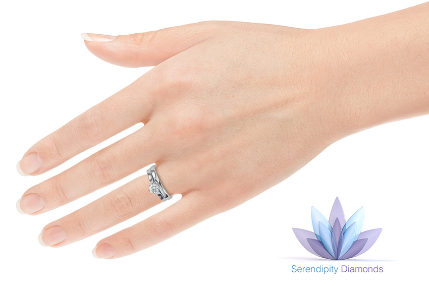 Ballerina engagement ring with 2.5mm wide wedding ring