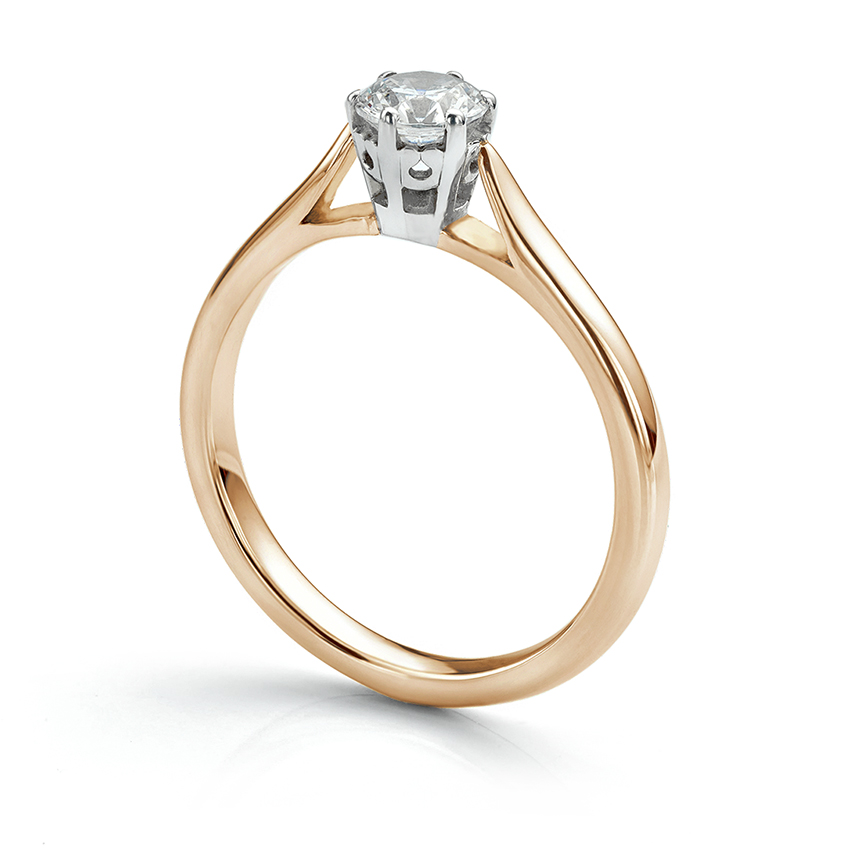 Beatrice is a traditional engagement ring which suits many sizes of solitaire diamond