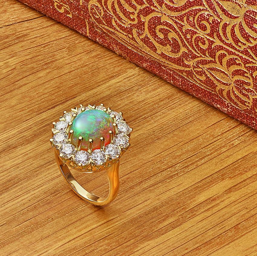 Cabochon cut opal ring