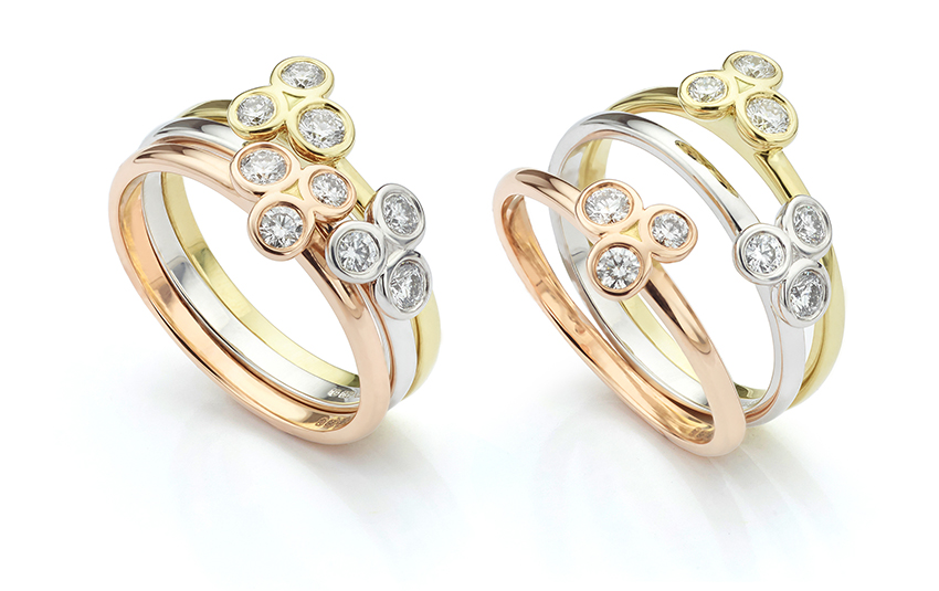 Clover thin band ring set with stacking three colour rings