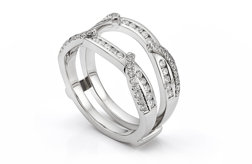 Enhancer wrap style double diamond eternity ring