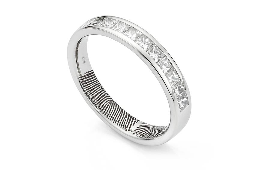 Fingerprint diamond eternity ring