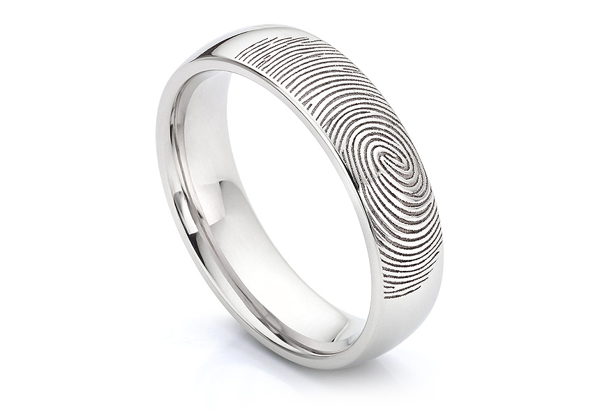 Classic fingerprint wedding ring with court comfort fit shown in 5mm width