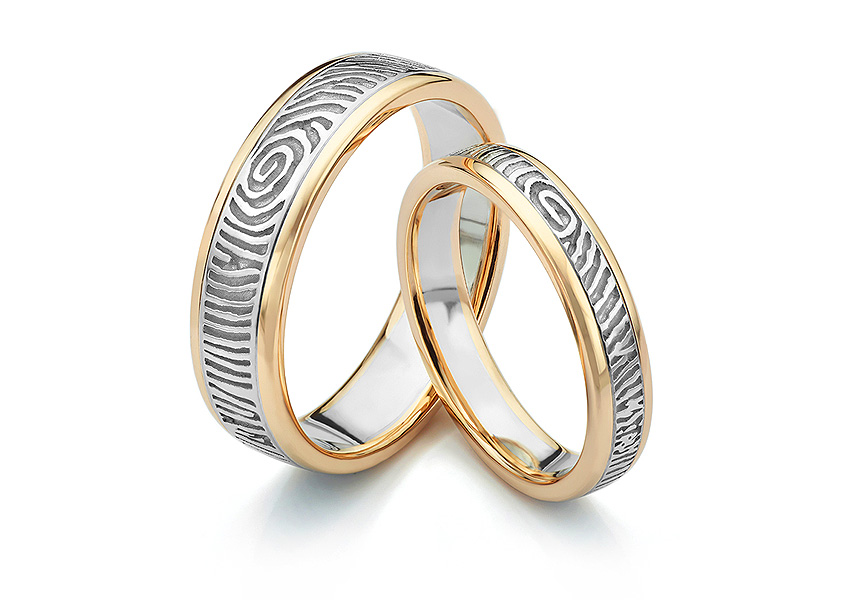 Two colour fingerprint wedding rings