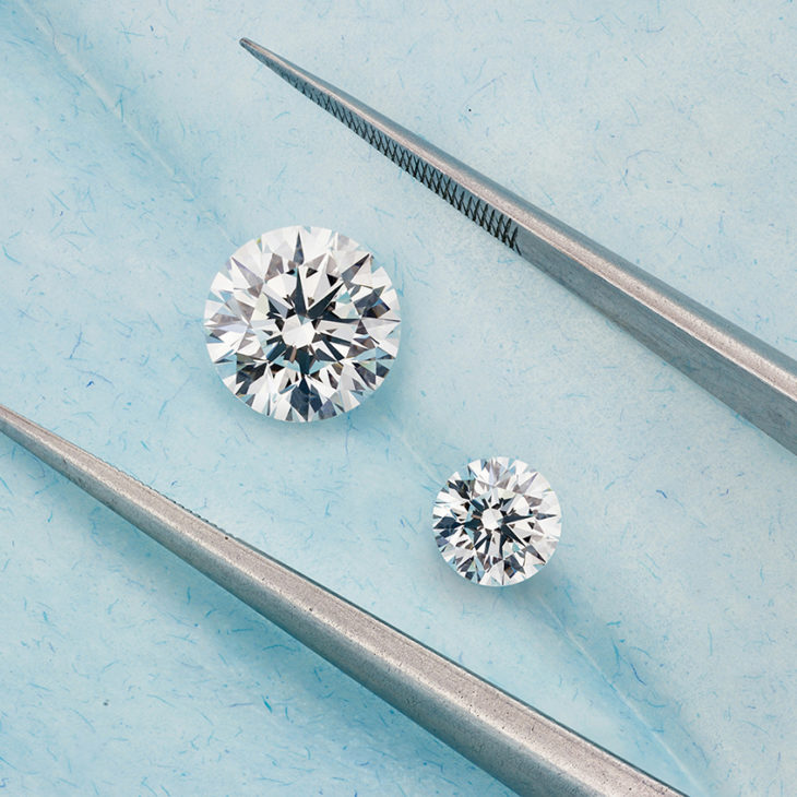 Large and small round solitaire diamonds brilliantly cut