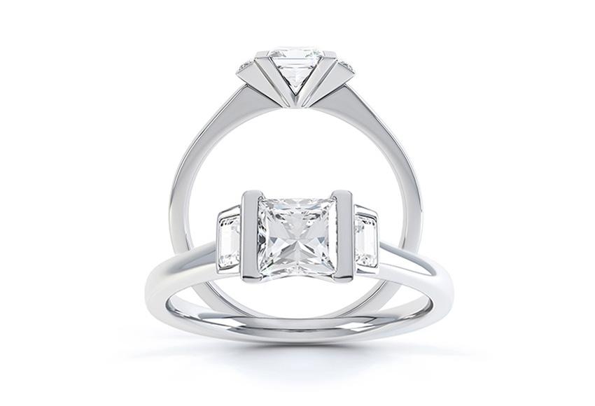 Art Deco Baguette Cut Engagement Ring