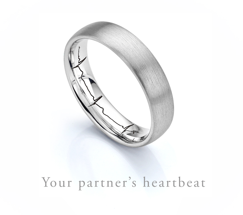 Our popular heartbeat wedding ring Matte finished on the outside
