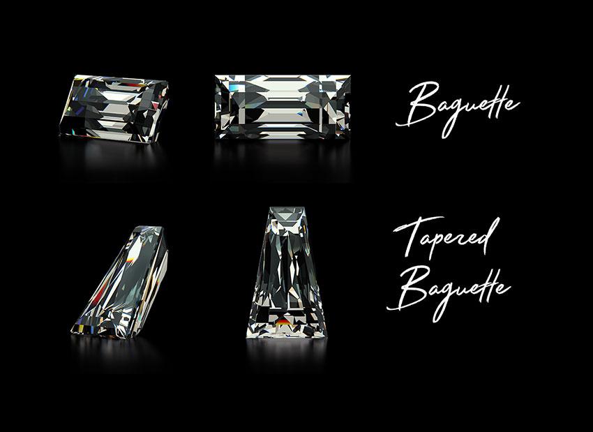 Tapered baguette vs baguette cut diamond compared