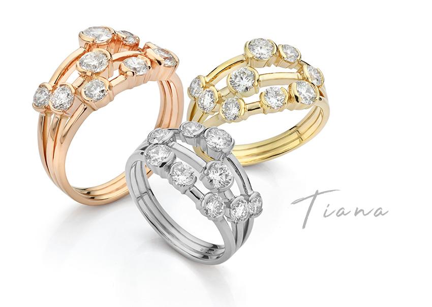 Tiana part bezel set diamond bubble ring