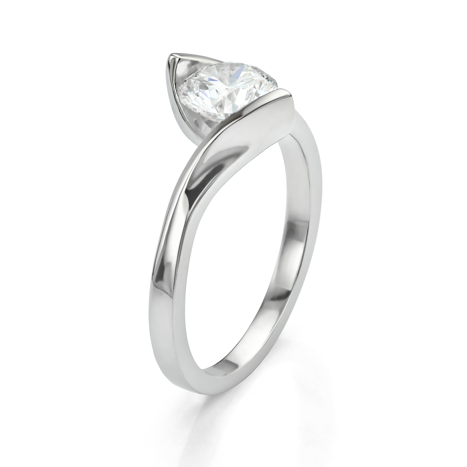 Floating diamond solitaire engagement ring Unity