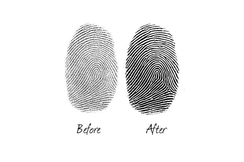 Fingerprint examples before and after, ready to engrave onto jewellery