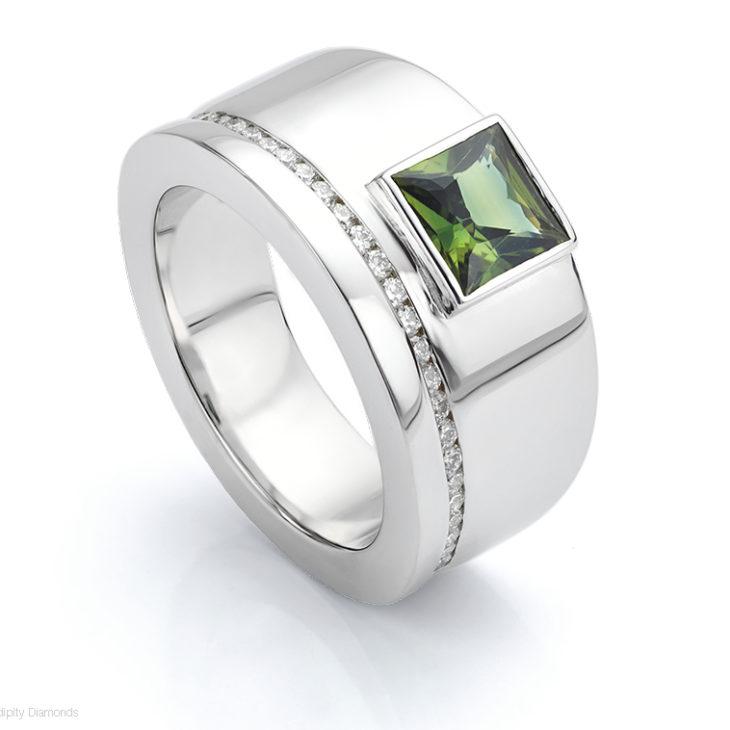 Bezel set Green Sapphire ring