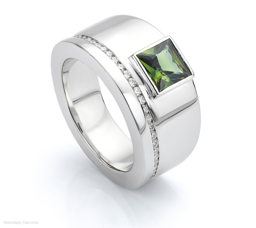 Bezel set Green Sapphire ring could work as an extra wide wedding rings for men