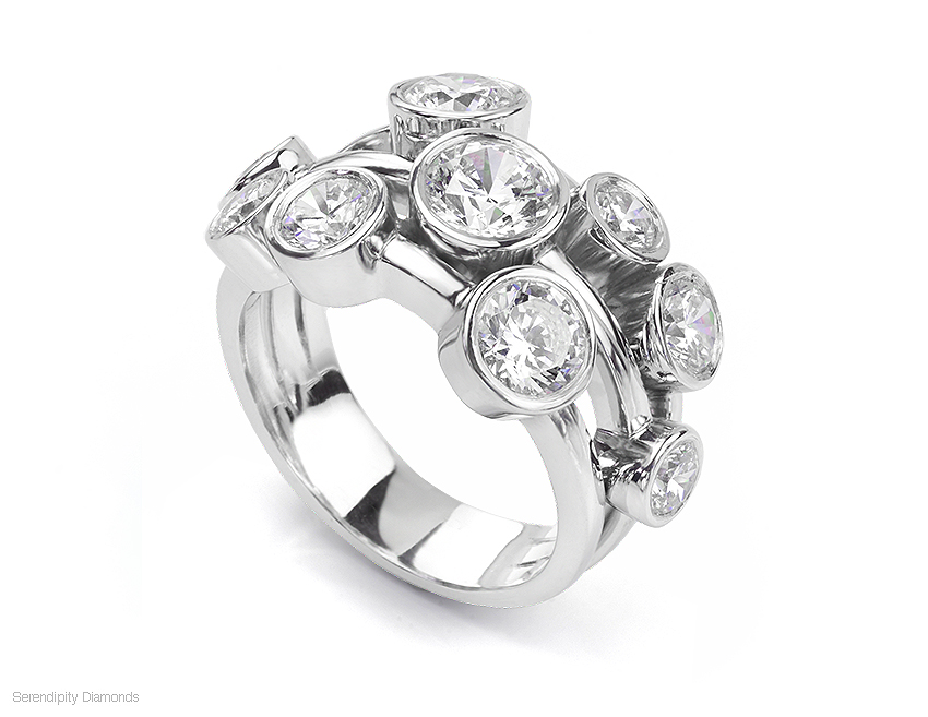 Bezel set diamond bubble ring