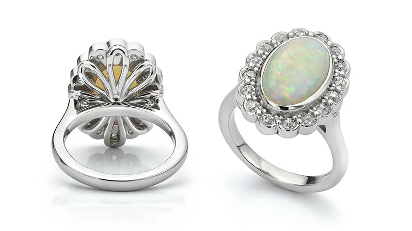 Platinum opal cluster ring
