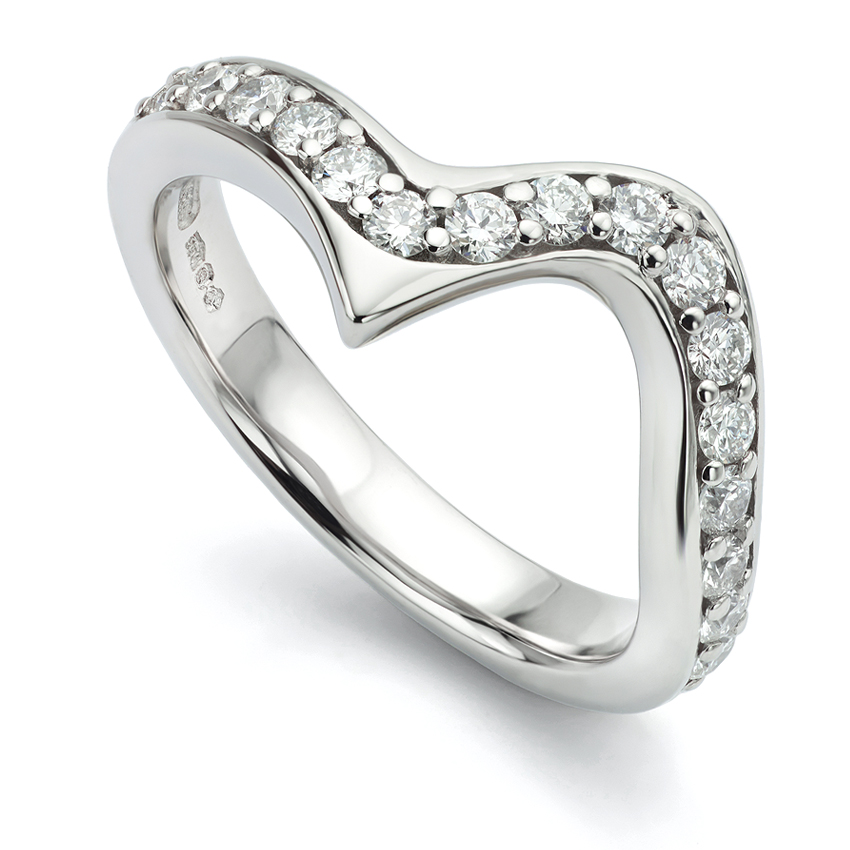 The look of re-polished Platinum shown on a diamond set wedding ring