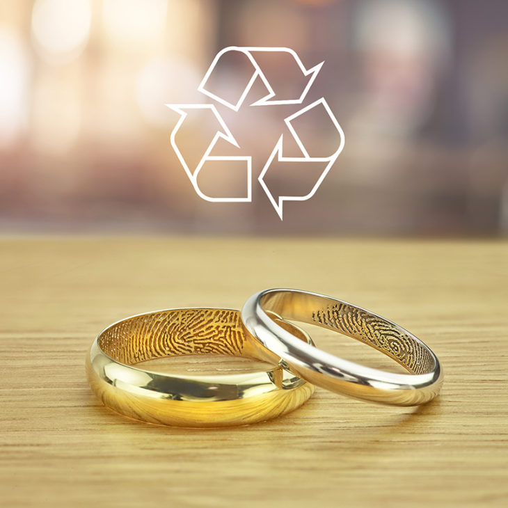 Recycled wedding rings with fingerprints