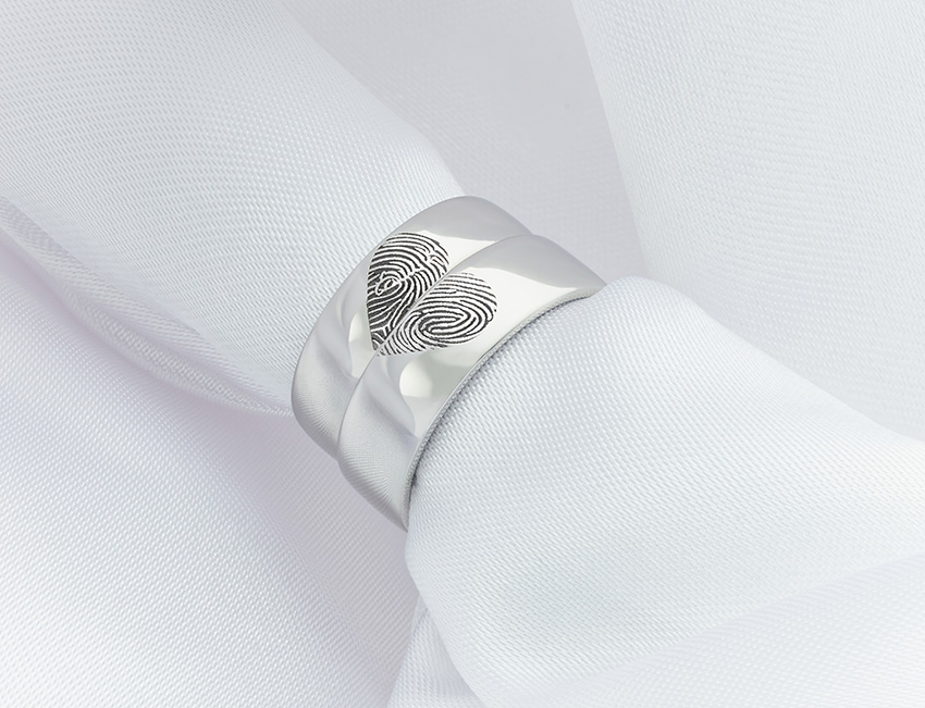 Unique fingerprint wedding rings from Serendipity Diamonds