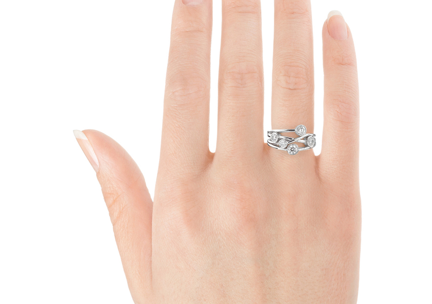 Showing the Anniversary diamond bubble ring worn on the right hand