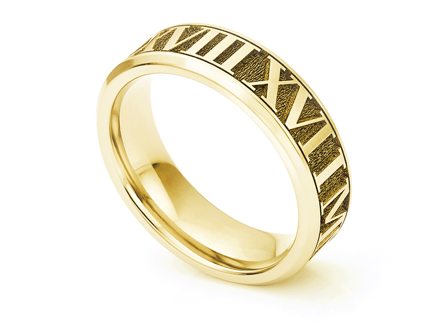 Deep engraved bevelled wedding ring with Roman Numerals