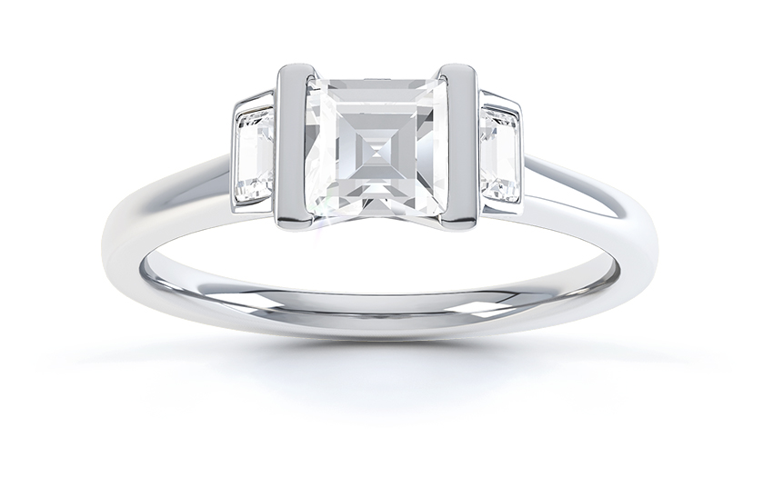 Art Deco Carre cut diamond engagement ring