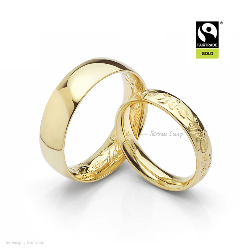 Fairtrade gold stamp on hand engraved wedding rings