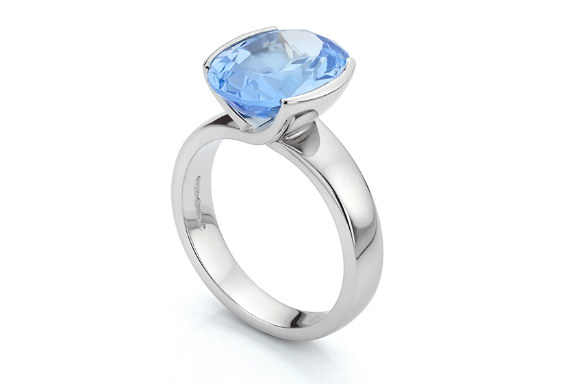 Bespoke Platinum ring set with Aquamarine