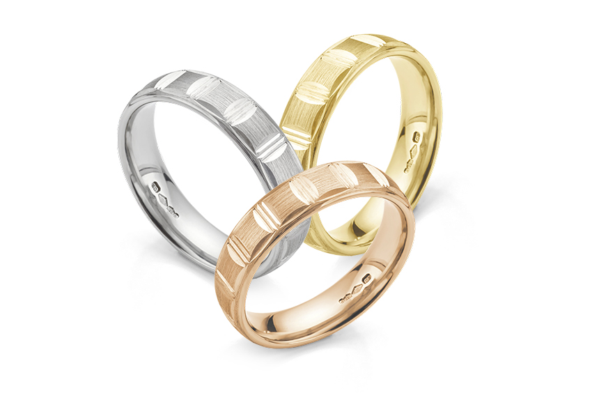 Brush Patterned Wedding Rings Rose Gold, White Gold, Yellow Gold