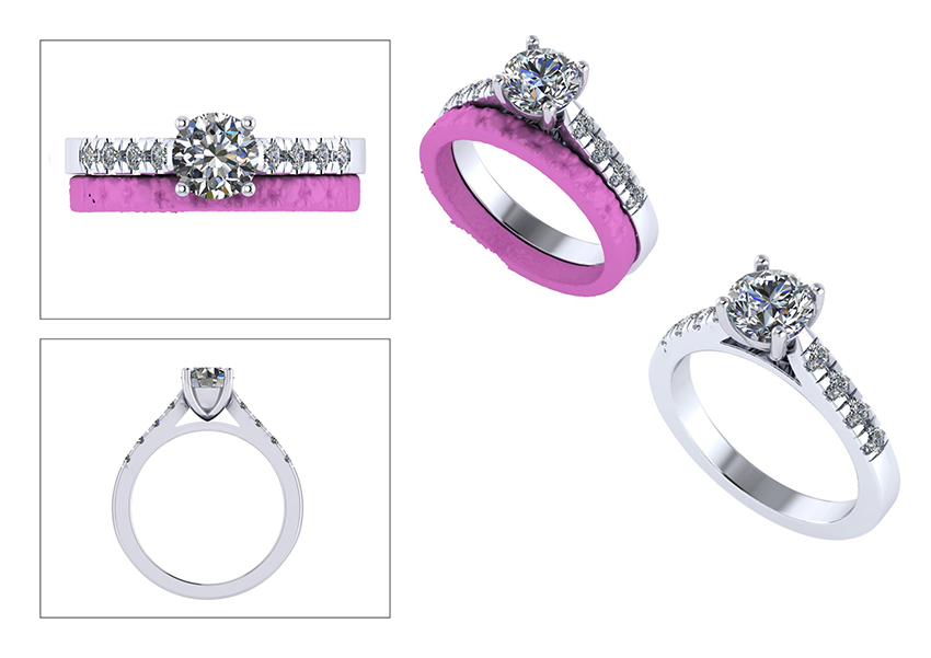 CAD ring designs of the engagement ring to be remade