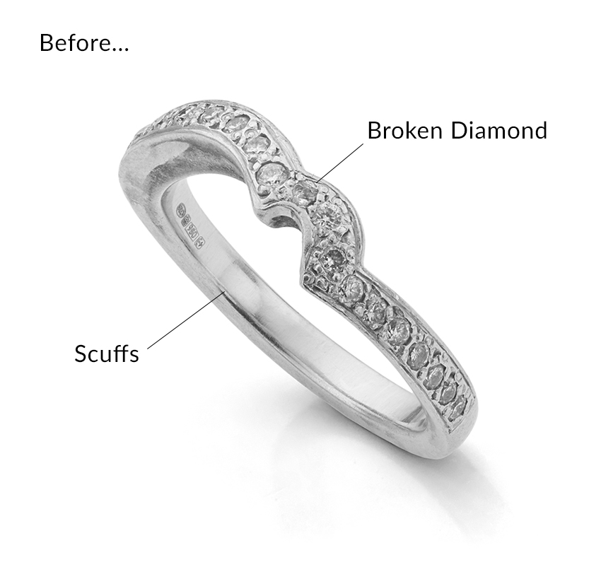 Broken and damaged wedding ring with broken diamond
