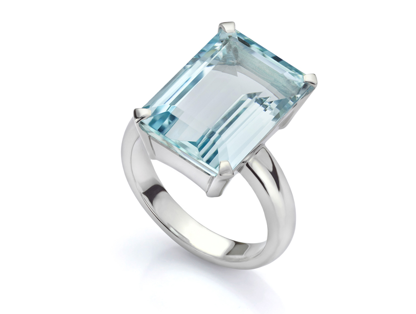 Statement dress ring created in 18ct White Gold with an Emerald cut Aquamarine
