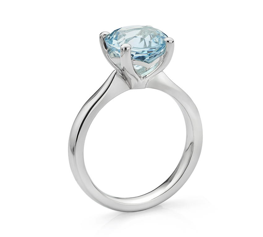 Lila solitaire engagement ring design with round Aquamarine