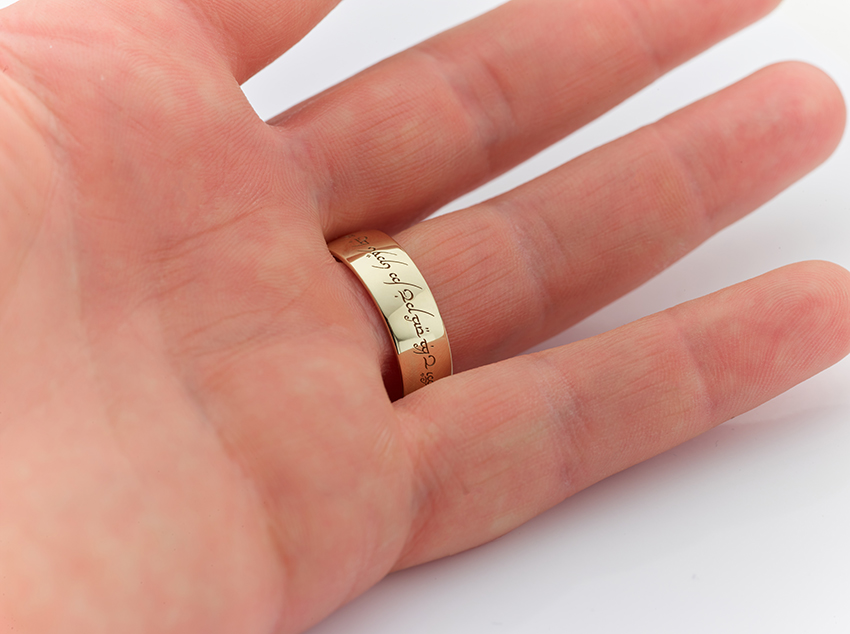 7mm light court wedding ring inspired by Lord of the Rings on the finger