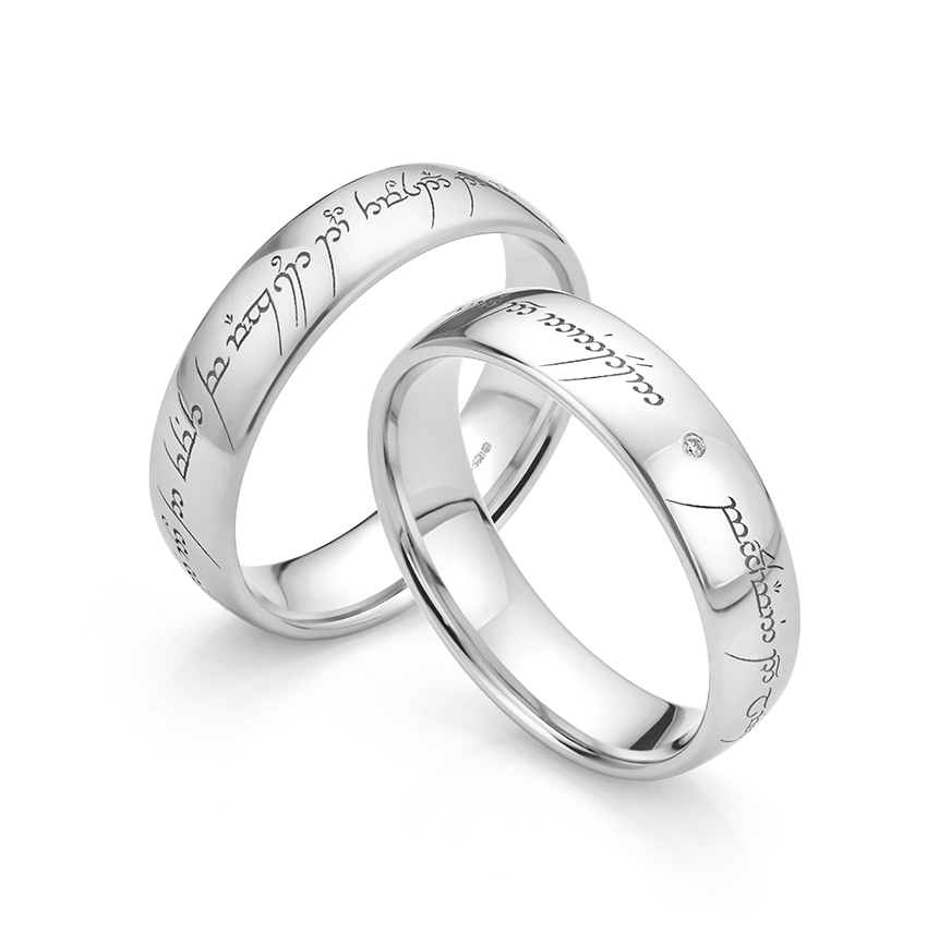 Lord of the Rings Wedding Ring featuring inset diamond in Platinum