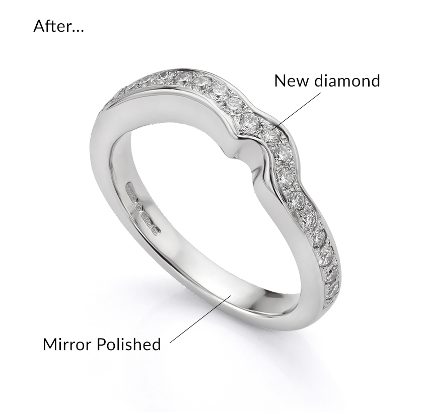Repaired wedding ring looking as new after the diamond is replaced and the ring is repolished
