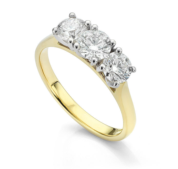 Diamond trilogy ring with ctw of 1.50 carats Platinum setting above 18ct Yellow Gold band
