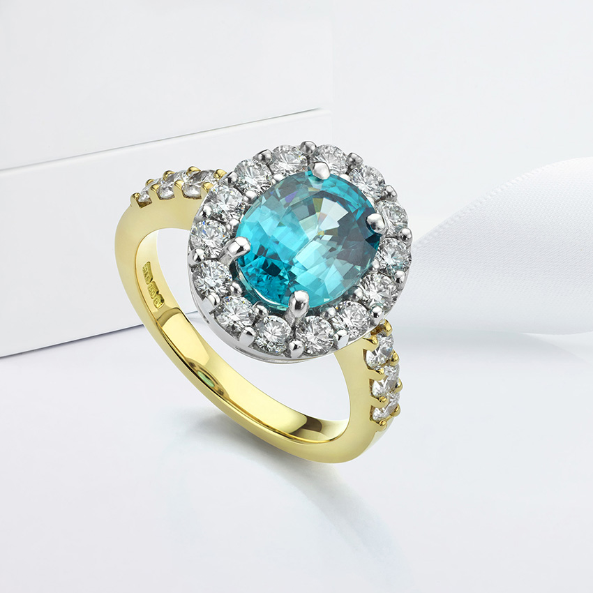 Bespoke Blue Zircon and Diamond Cluster Ring