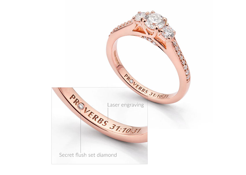 Secret diamond engagement ring made entirely in Rose Gold