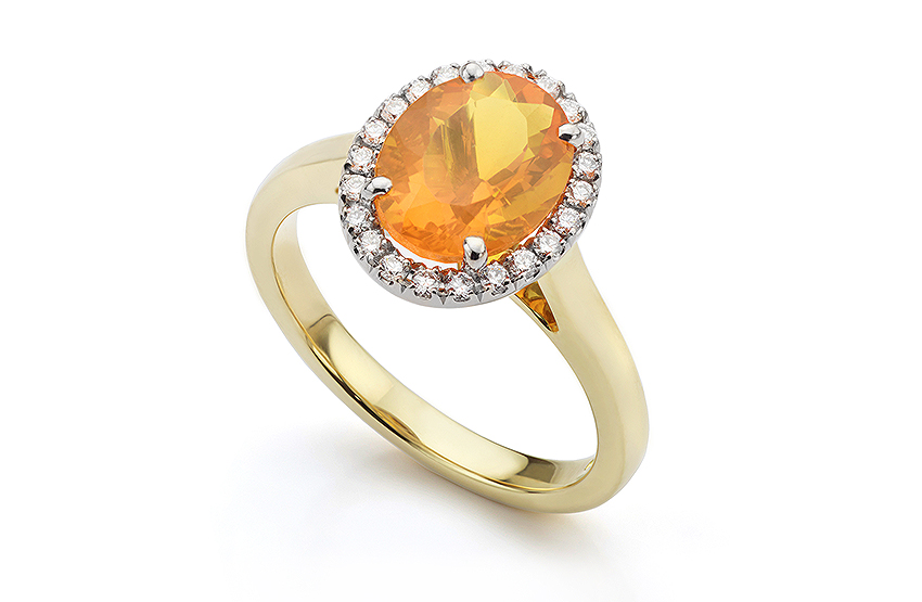 Orange Fire Opal and diamond halo ring in 18ct Yellow Gold