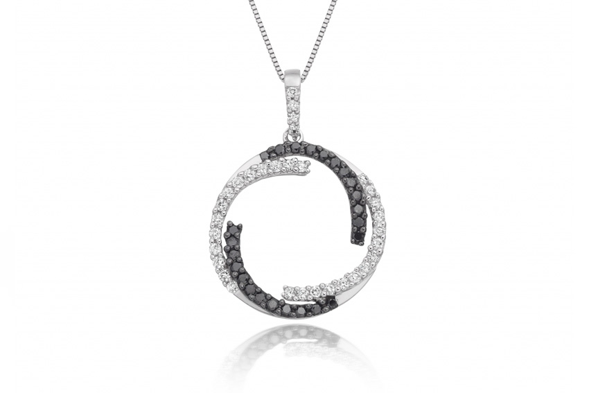 Black and white diamond circle necklace with contrasting black and white diamonds