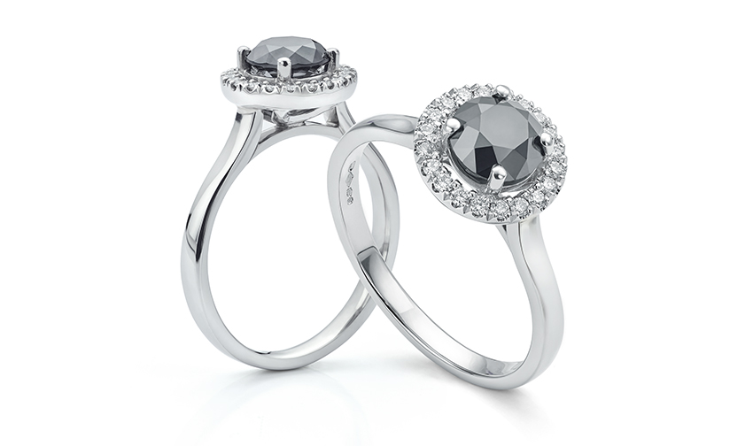 1 carat black diamond halo engagement ring. The Eleanor designs remains our best selling diamond ring.