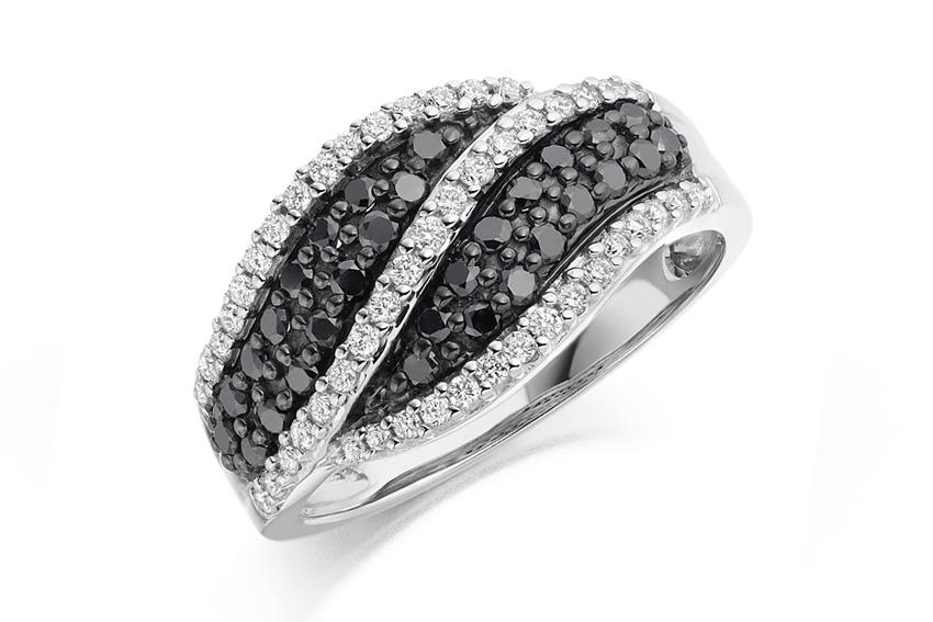 Pavé set black and white diamond dress or eternity ring